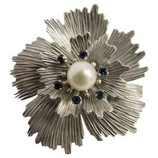 Vintage White Gold Overlay Signed Krementz 8mm Cultured Pearl with Blue Spinel Gems Flower Brooch