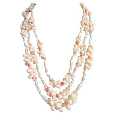 Little Creations Natural Branch Coral and Cultured Freshwater Rice Pearl 3 Strand Necklace