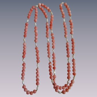 Vintage Natural Angel Skin Coral and Freshwater Cultured Rice Pearl 40 Inch Eternity Necklace