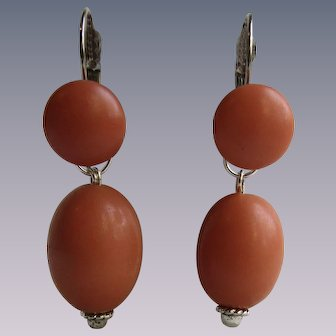 Little Creations SP Galalith Coral Cabochon and Large Bead Lever Back Pierced Earrings