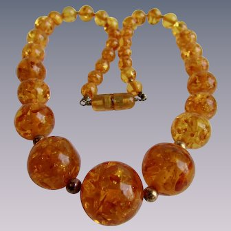 Vintage Natural Amber Heat Treated Pressed Honey Coloured Graduated Necklace