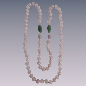 Vintage Rose Quartz, Jadeite, Amethyst Eternity 30 Inch Necklace