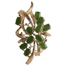 Vintage Jadeite Cabochon Flower Motif and Sculptural Style GP Brooch