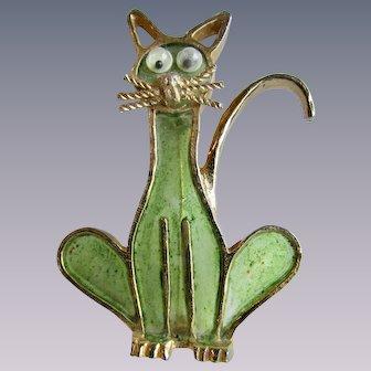 Vintage Signed Mr WE Brutalist Cat Green Stained Resin Figural Brooch