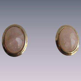 Vintage GP Frame Oval Rose Quartz Cabochon Pierced Earrings