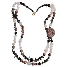 Vintage Lee Sands Rhodonite Carved Rose Focal Point and Assorted Beads Double Strand Necklace