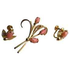 Vintage Signed Sorrento Angel Skin Coral Marquis Cabochon Brooch and Screw Back Earring Set