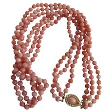 Vintage Angel Skin Coral 3 Strand Torsade Necklace