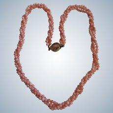 Vintage 18kt GP Angel Skin Coral 3 Strand Torsade Necklace
