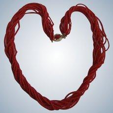 Vintage 18kt GP Natural Red Seed Coral 10 Strands Torsade Necklace