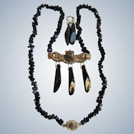 Little Creations 18kt GP Black Branch Coral with Brooch Centrepiece Necklace
