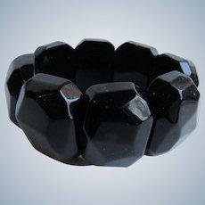 Vintage Black Plastic Facetted Chunky Link Stretch Bracelet
