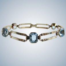 Art Deco Signed EB Engel Brothers 10k GF Blue Simulated Topaz Paste Gem Link Bracelet