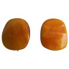Vintage Egg Yolk Natural Baltic Amber Nuggets Omega Pierced Earrings