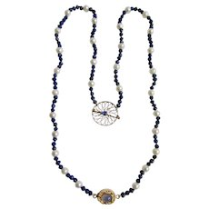 Little Creations 10kt Pendant with Lab Created Blue Sapphire on Blue Lapis and Cultured Pearl 18kt GP Clasp Necklace