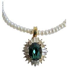 Vintage 10k Emerald Paste Enhancer with Rondelle Cultured Freshwater Pearl Necklace
