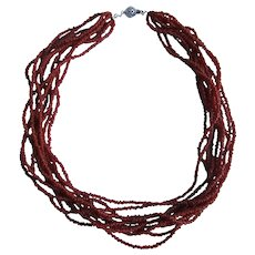 Vintage 10 Strand Torsade Natural Oxblood Red Coral Branch Seed Bead Necklace