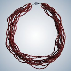 Vintage 10 Strand Torsade Natural Oxblood Red Coral Branch Seed Bead Necklace