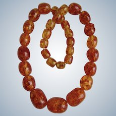 Vintage Clarified Natural Baltic Amber Graduated Oblong Beads 24 Inches Necklace