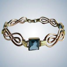 Vintage Signed Simmons Blue Topaz Paste Emerald Cut with Rose GF Link Bracelet