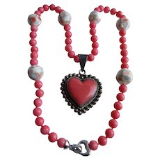 LC Pink Coral Sterling Silver Huge Heart Pendant and Dyed Pink Coral and Mother of Pearl Bead Necklace