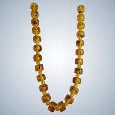 Vintage Baltic Amber Natural Clarified in Glowing Honey tones with Large Rondelle Beads Necklace