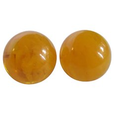 Little Creations Yellow Prystal Bakelite Domes with Gold Plate Omega Pierced Earrings