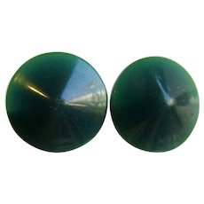 Vintage Carved Bakelite Translucent Teal Pierced Earrings