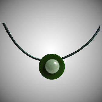 LC Bakelite Disc and Jade Cabochon Floating Pendant on Silk 3mm Cord Necklace