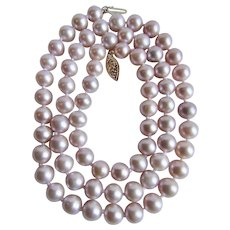 Vintage 14kt Gold Cultured Pearls 7mm Silver Rose Lilac A Quality Necklace
