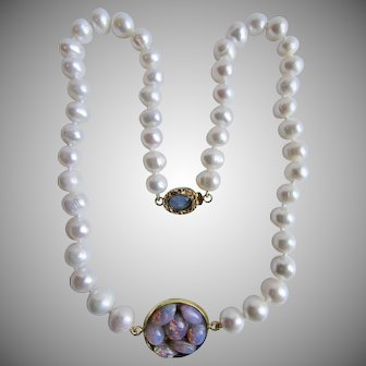 LC 18kt GP Opal and Opal Laminated Cabochon Pendant and Freshwater Cultured Pearl Necklace