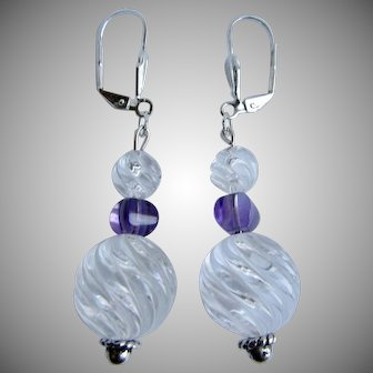 LC Artisan Rock Crystal Carved in a Swirl Pattern with Amethyst Carved Beads SP Lever back Pierced Dangling Earrings