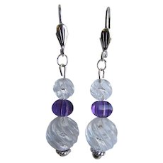 LC Artisan Rock Crystal Carved in a Swirl Pattern with Amethyst Carved Beads SP Lever back Pierced Dangling Smaller Scale Earrings