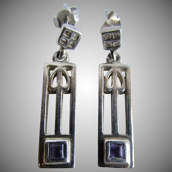 Vintage Charles Mackintosh Design Sterling Silver Amethyst Square Gem Pierced Post Earrings