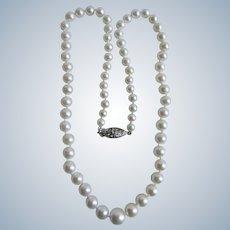 Vintage 18k Graduated AA Fine Quality Cultured Pearl with Brilliant Cut Diamond Clasp