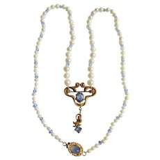 Little Creations 18k GP AA Quality Graduated Cultured Pearls with Pinch beck Pendant with Blue Pastes Necklace