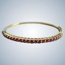 Vintage Sterling Silver GP Lab Created Ruby European Gallery Design Hinge Bracelet