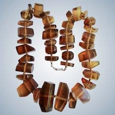 Vintage Hand Crafted Carved Horn Sculptural Designed Necklace
