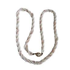 Vintage Angel Skin Coral Graduating Torsade Necklace 18kt GP Opal clasp