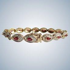 Vintage Ruby Marquise and Diamond Silver GP Locking Tennis Link Bracelet