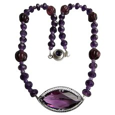 LC Genuine Amethyst Rondelle and Amethyst Marquis Brooch Pendant Necklace