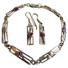 Vintage Silver Bracelet and Pierced Earrings in the Style of Charles Rennie Mackintosh with Genuine Pear Shape Amethysts