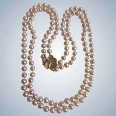 Vintage 14K Double Strand Fine Quality AA Cultured Pearl Silver Rose 5.50mm Necklace