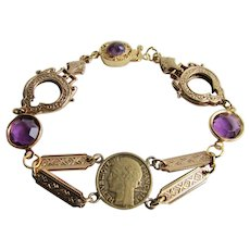 LC Artisan 18k GP Coin Focal Centrepiece Filagree Paste and Genuine Amethyst Bracelet