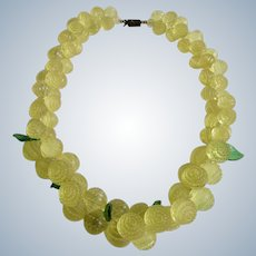 Vintage Graduated Yellow Berries Bunch Textured Hard Plastic Necklace