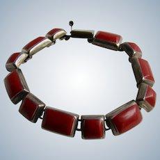 Vintage Silver Dyed Coral Freeform Link Bracelet
