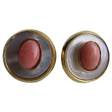 Little Creations Natural Angel Skin Coral Cabochon with Mother of Pearl Disc GP Pierced Earrings