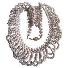 Vintage 18kt GP Conch Beads Angel Skin Coloring Festooned Necklace