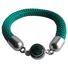 Little Creations Emerald Box Clasp 825 Silver with 10mm Silk Cord Bracelet