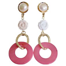 LC Shoulder Dusters Cultured Pearl Cabochon and Carved Angel Skin Coral Rose and Vintage MOP Hoop GP Pierced Earrings